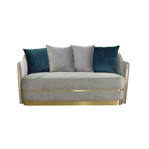 Vig Furniture VGHKF3062-40-GRY Divani Casa Ardine Modern Grey Velvet & Gold Loveseat Sofa