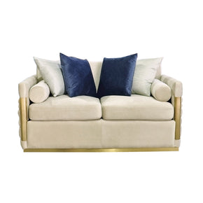 Vig Furniture VGHKF3073-40-STN Divani Casa Tenaya Modern Beige Fabric & Gold Loveseat Sofa