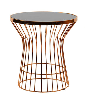 Vig Furniture VGFHFCT7026 Modrest Ardath Modern Black Glass & Rosegold End Table