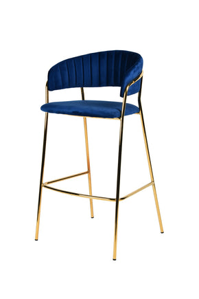 Vig Furniture VGFH-FDC7052-BLU Modrest Brandy Modern Blue Fabric Bar Stool (Set of 2)