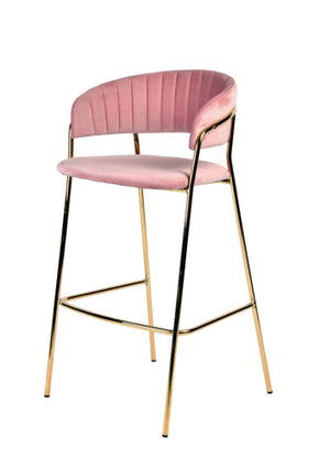 Vig Furniture VGFH-FDC7052-PNK Modrest Brandy Modern Pink Fabric Bar Stool (Set of 2)