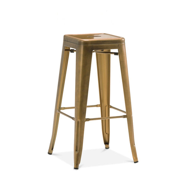 Bar Chairs - Design Lab MN LS-9100-VBRA Dreux Vintage Brass Steel Stackable Barstool 30 Inch (Set of 4) | 646263991619 | Only $284.80. Buy today at http://www.contemporaryfurniturewarehouse.com