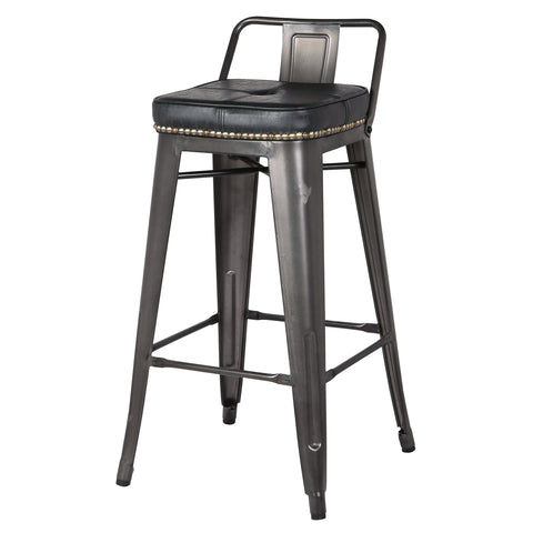New Pacific Direct 9300032-240 Metropolis Low Back Counter Stool (Set of 4) Vintage Black