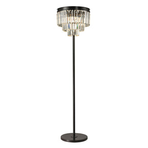 Palacial 3 Light Floor Lamp In Oil Rubbed Bronze And Clear Crystal