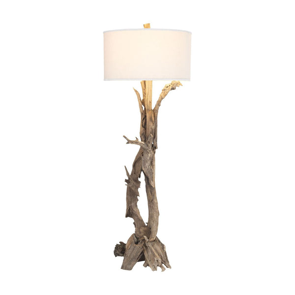 Hounslow Heath Natural 68-In Teak Root Floor Lamp With White Fabric Shade