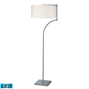 Lancaster Led Floor Lamp In Chrome With Milano Pure White Shade
