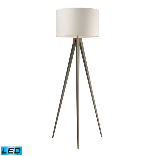 Salford Led Floor Lamp In Satin Nickel With Off White Linen Shade