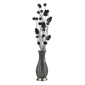 Cyprus Grove Floral Display Floor Lamp In Chrome And Black Chrome,black