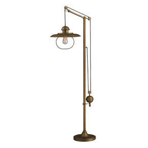 Farmhouse Floor Lamp In Antique Brass With Matching Metal Shade