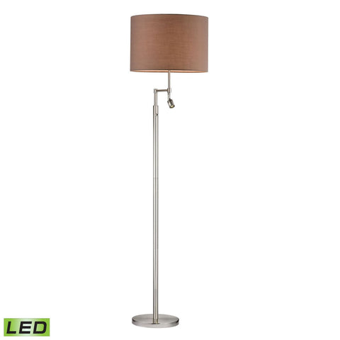 Beaufort Led Floor Lamp In Satin Nickel With Adjustable Reading Light