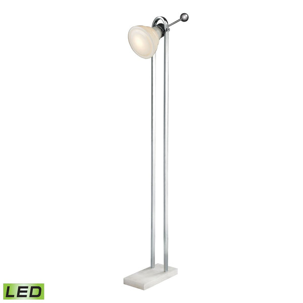 Vintage Ball Handle Adjustable Led Floor Lamp In Polished Nickel White,polished