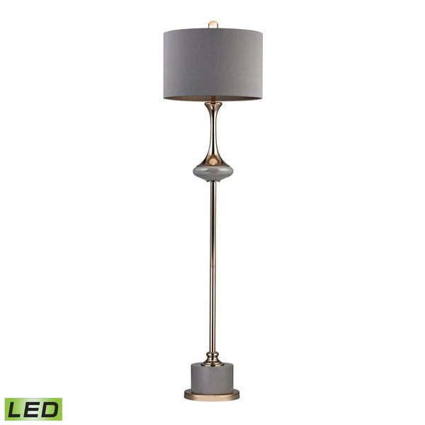 Gold Fluted Neck Led Floor Lamp Grey,gold