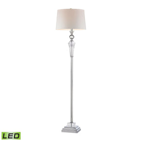 Crystal Column Led Floor Lamp With Chrome Orb Clear Crystal,chrome