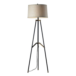 Functional Tripod Floor Lamp In Restoration Black And Aged Gold Black,aged