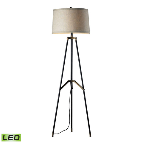 Functional Tripod Led Floor Lamp In Restoration Black And Aged Gold Black,aged