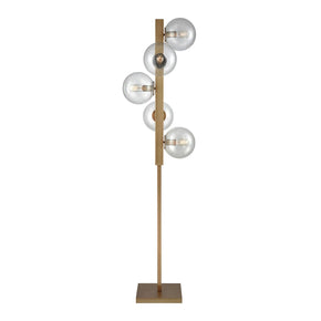 Prospect Ave Floor Lamp Aged Brass,clear