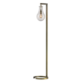 Antique Brass Floor Lamp With Clear Glass Shade