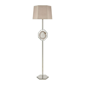 Askja Floor Lamp Polished Nickel,natural Agate