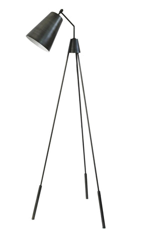 Amato Floor Lamp Silver Galvanised Iron Brass