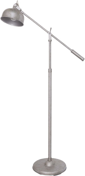 Haleston Industrial Floor Lamp Antique Silver Brushed Nickel