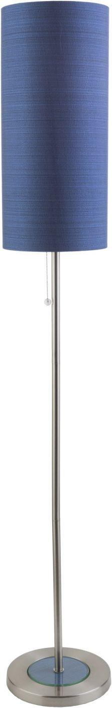 Kyoto Modern Floor Lamp Brushed Nickel Blue
