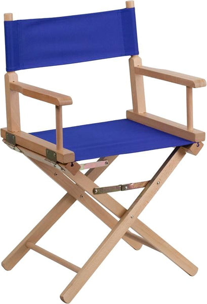 Standard Height Directors Chair In Brown Blue Folding