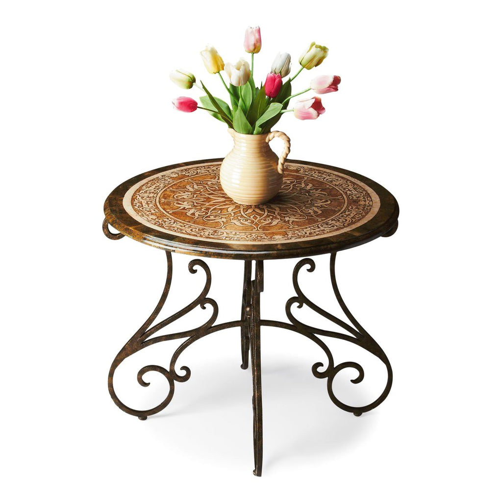 Traditional Round Foyer Table Fossil Stone ...