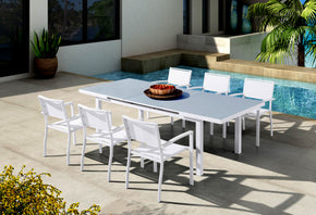 Vig Furniture VGGEFP0338-WHT Renava Tybee Outdoor White Extendable Dining Table Set