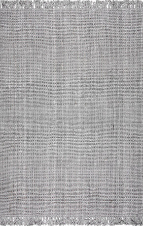 Nuloom Machine Woven Chunky Loop Jute Grey Rug