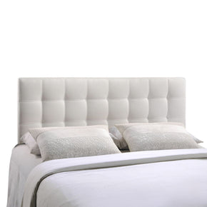 Lily Queen Upholstered Faux Leather Headboard White
