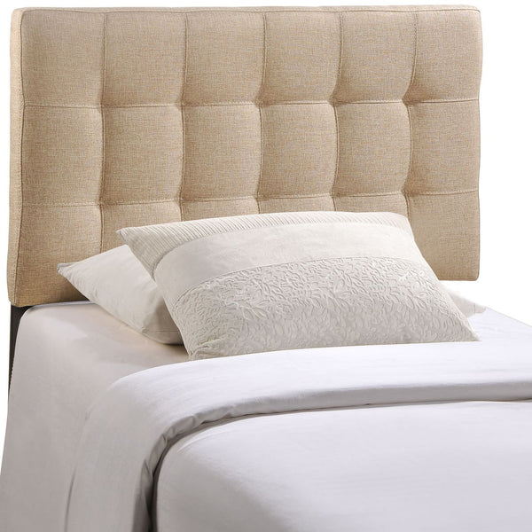 Lily Twin Upholstered Fabric Headboard Beige