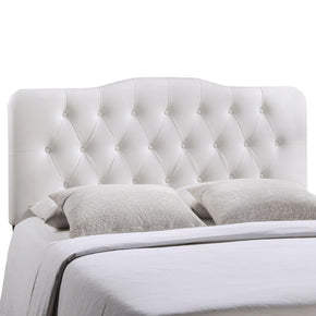 Annabel Queen Upholstered Faux Leather Headboard White