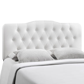 Annabel King Upholstered Faux Leather Headboard White