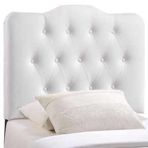 Annabel Twin Upholstered Faux Leather Headboard White