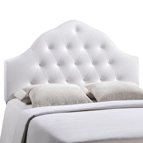 Sovereign Queen Upholstered Faux Leather Headboard White
