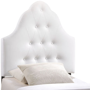 Sovereign Twin Upholstered Faux Leather Headboard White