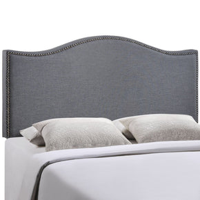 Curl Queen Nailhead Upholstered Headboard Smoke