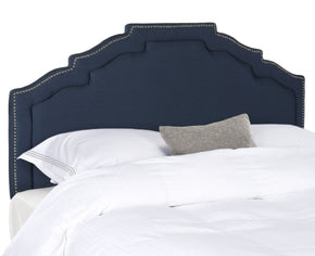 Alexia Steel Blue Headboard - Silver Nail Head Queen