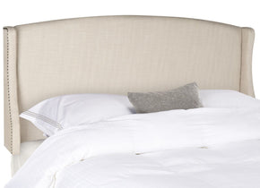 Austin Beige Winged Headboard - Silver Nail Head Queen