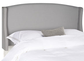 Austin Light Grey Winged Headboard - Silver Nail Head Twin