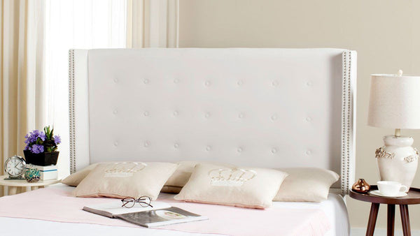 Keegan White Velvet Tufted Winged Headboard - Silver Nail Head Queen