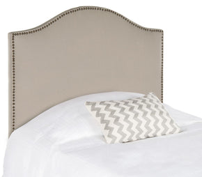 Connie Taupe Headboard - Brass Nail Head Twin