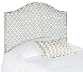Connie Grey/white Headboard - Silver Nail Head Twin