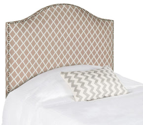 Connie Dusty Rose & White Headboard - Silver Nail Head Twin