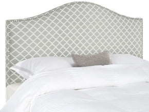 Connie Grey/white Headboard - Silver Nail Head King