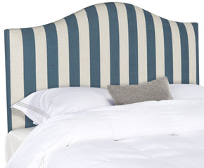 Connie Blue & White Headboard - Silver Nail Head King