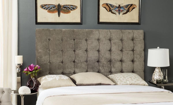 Lamar Greige Tufted Velvet Headboard King