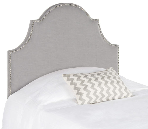 Hallmar Arctic Grey Arched Headboard - Silver Nail Head Twin