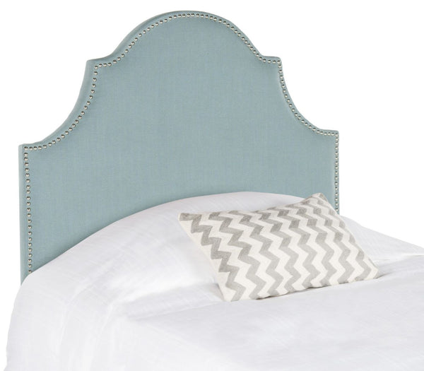 Hallmar Sky Blue Arched Headboard - Silver Nail Head Twin