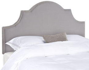 Hallmar Arctic Grey Arched Headboard - Silver Nail Head King